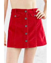 BDG - Red Corduroy Button-front Mini Skirt - Lyst