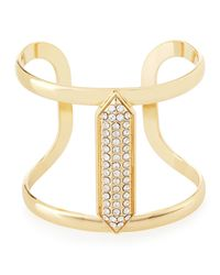 Lydell NYC | Metallic Crystal-studded Golden Cuff Bracelet | Lyst