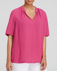 NYDJ | Pink Shirred Split Neck Blouse | Lyst