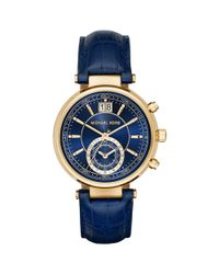 Michael Kors | Blue 39mm Sawyer Leather Strap Watch | Lyst