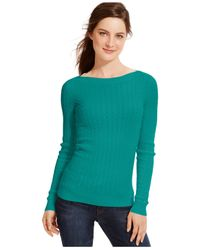 Tommy Hilfiger | Blue Cable-knit Boat-neck Sweater | Lyst