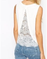 ASOS - White Top In Crepe With Split Back And Lace Insert - Lyst