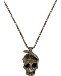 Alexander McQueen - Metallic Gunmetal Feather Skull Pendant Necklace for Men - Lyst