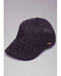 Lyst - Bebe Woven Baseball Cap in Black ea069e18bf8