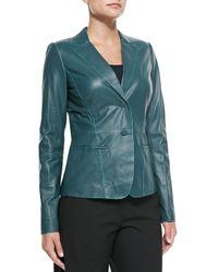 Lafayette 148 New York - Blue Lambskin Leather Two-Button Jacket - Lyst