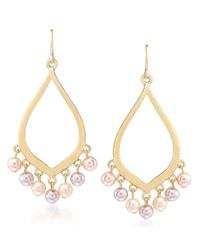 Carolee | Pink Peach Blossom Goldtone Faux Pearl Earrings | Lyst