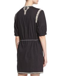 Étoile Isabel Marant - Black Rebel Short-sleeve Tassel-tie Dress - Lyst