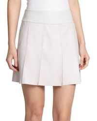 Vince - Natural Pleated Leather Skirt - Lyst