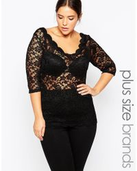 Carmakoma | Black Scalloped Scoop Neck Top In Lace | Lyst