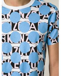 KENZO - Blue Dots And Logo Print T-Shirt for Men - Lyst