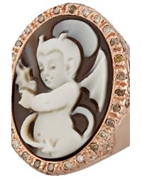 Amedeo | Metallic Rose Gold-Plated, Sardonyx Shell And Diamond Devil Cameo Ring | Lyst