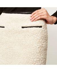 River Island - Natural Cream Shearling A-line Mini Skirt - Lyst