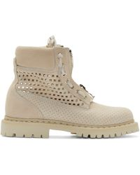 Balmain | Natural Beige Suede Perforated Tundra Ranger Boots | Lyst