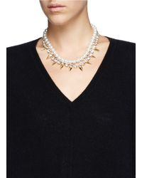Joomi Lim | Metallic Spike Crystal Pearl Double Strand Necklace | Lyst