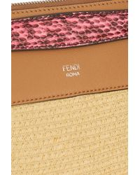 Fendi - Brown By The Way Small Elaphe And Leather-Trimmed Raffia Shoulder Bag - Lyst
