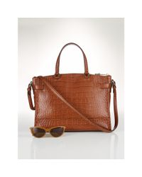 Ralph Lauren | Brown Darwin Croc-embossed Satchel | Lyst