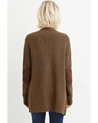 Forever 21 - Green Waffle Knit Cardigan - Lyst