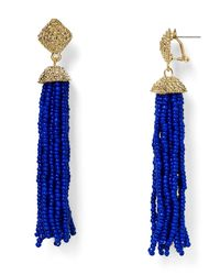 Aqua - Metallic Leslie Tassel Drop Earrings - Lyst