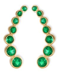 Rina Limor | Green 18k Yellow Gold & Emerald Climber Earrings | Lyst