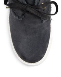 See By Chloé - Gray Faux Shearlinglined Suede Ankle Boots - Lyst