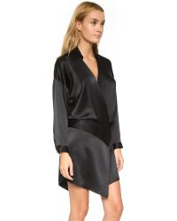 Michelle Mason - Black Oversized Wrap Mini Dress - Lyst