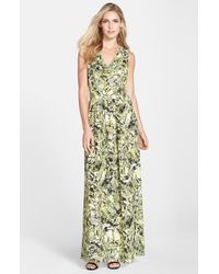 Marc New York | Natural By Andrew Marc Print Crepe De Chine Maxi Dress | Lyst