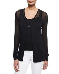 Elie Tahari - Black Avonna Long Sheer Yoke Sweater Tank - Lyst