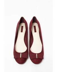 Forever 21 - Purple Bow-topped Faux Suede Flats - Lyst