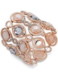 INC International Concepts | Pink Rose Gold-tone Large Stone Stretch Bracelet | Lyst