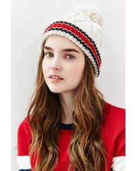 Urban Outfitters | Natural Collegiate Stripe Cuff Pom Beanie | Lyst