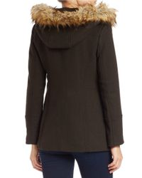 MICHAEL Michael Kors | Green Faux Fur-trimmed Asymmetrical-zip Coat | Lyst