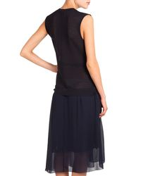 Nina Ricci - Blue Sleeveless Button-front Dress W/ D-ring - Lyst
