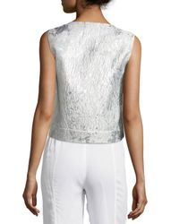 Monique Lhuillier - Pink Metallic Cloque Sleeveless Shell - Lyst
