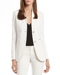 Gucci - Pearl White Stretch Cotton Standup Collar Jacket - Lyst