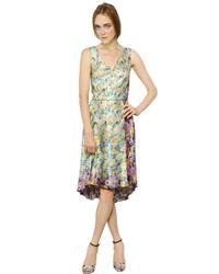 Nina Ricci | Multicolor Floral Pleated Satin Dress | Lyst