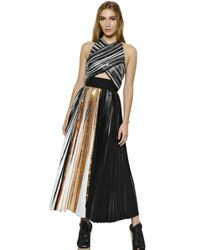 Proenza Schouler | Multicolor Pleated Crepe Cloqué Dress | Lyst