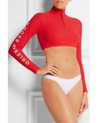 Orlebar Brown - Red Gia Cropped Rash Guard - Lyst