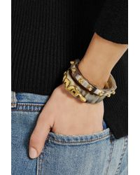 Ashley Pittman - Brown Mkono And Nyoka Set Of Two Horn And Gold-Tone Cuffs - Lyst