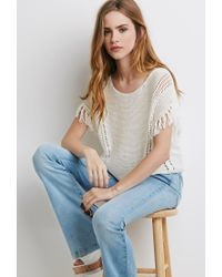 Forever 21 | Natural Loose-knit Tasseled Fringe Top | Lyst
