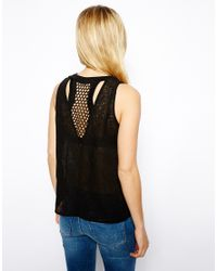 ASOS | Black Vest With Mesh Panel Insert | Lyst