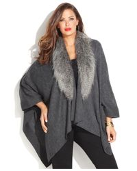 INC International Concepts | Gray Plus Size Faux-Fur-Collar Poncho Sweater | Lyst