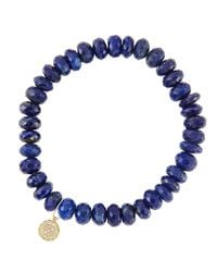 Sydney Evan - Blue 8mm Faceted Lapis Beaded Bracelet With 14k Yellow Gold/diamond Small Disc Charm (made To Order) - Lyst