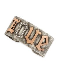 Irit Design | Metallic Silver & Pink Gold Love Cuff With Pave Diamonds | Lyst