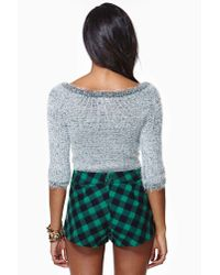 Nasty Gal | Green Courted Skort Gingham | Lyst