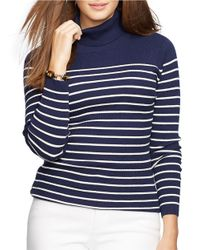 Lauren by Ralph Lauren | Blue Plus Striped Turtleneck Sweater | Lyst