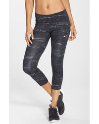Nike | Black 'epic Run' Print Dri-fit Crop Leggings | Lyst