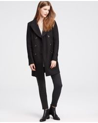 Ann Taylor | Black Long Peacoat | Lyst