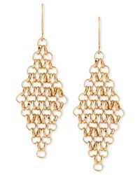 Kenneth Cole | Metallic Gold-tone Mesh Chain Drop Earrings | Lyst