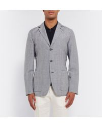 Façonnable | Blue Prince Of Wales Check Mohair, Linen And Silk-Blend Blazer for Men | Lyst