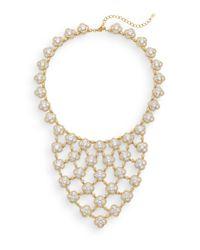 Adriana Orsini | Metallic Pavé Clover Bib Necklace | Lyst